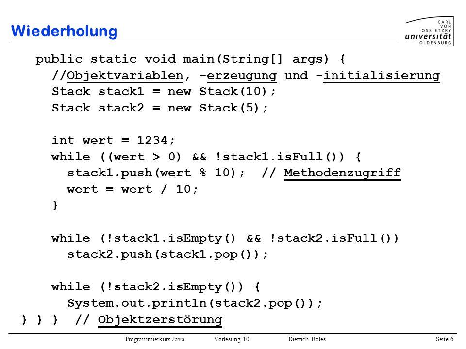 Wiederholung public static void main(String[] args) {